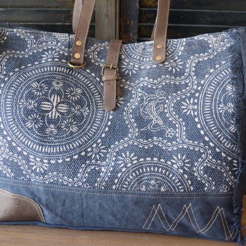 Blue Filigree Weekend Bag