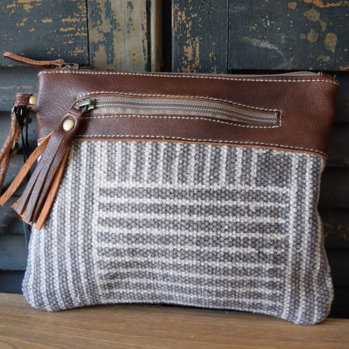 Square Lines Leather Wristlet