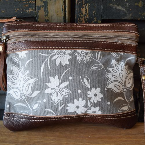 Floral Leather Wristlet