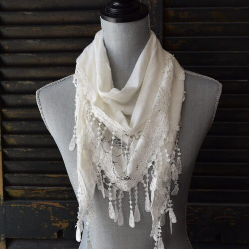 Triangle White Lace Scarf