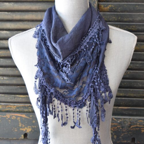 Triangle Blue Lace Scarf