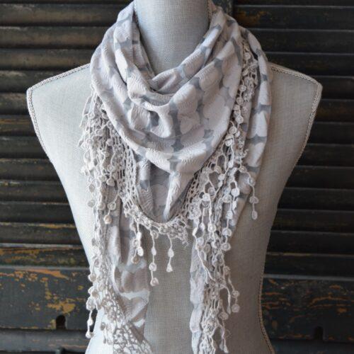 Triangle Grey Lace Scarf