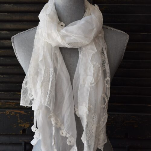 Long White Lace Scarf