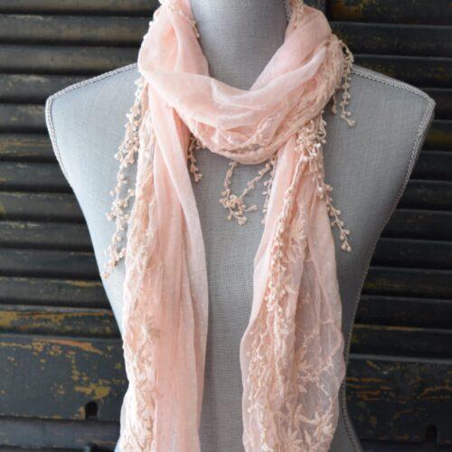 Pink Polka Dot Lace Scarf