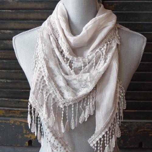 Light Grey Triangle Lace Scarf