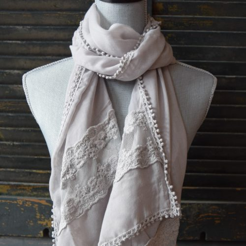 Long Grey Lace Scarf