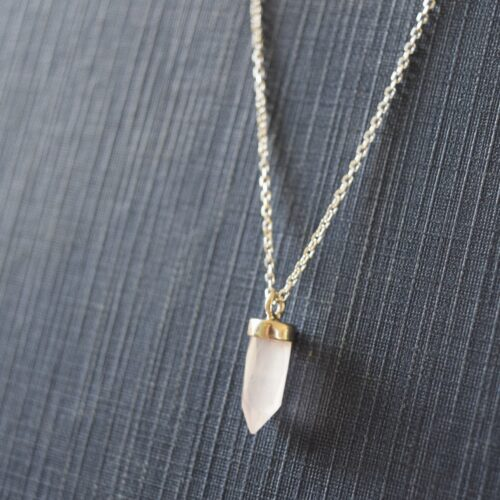 Sterling Silver Rose Quartz Point Necklace