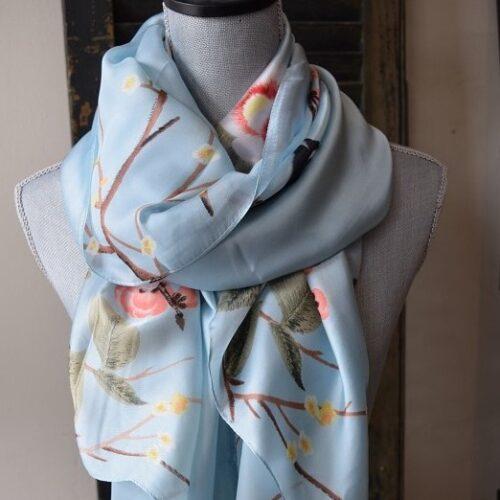 Blue Cherry Blossom Silk Scarf