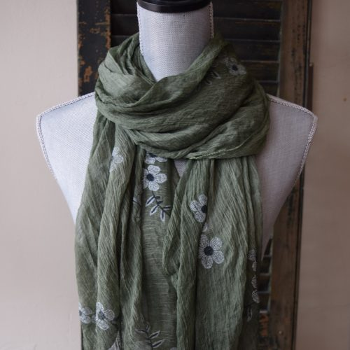 Green Crinkle Silk Scarf