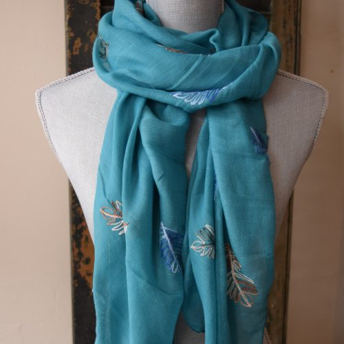 Turquoise Embroidered Leaf Scarf