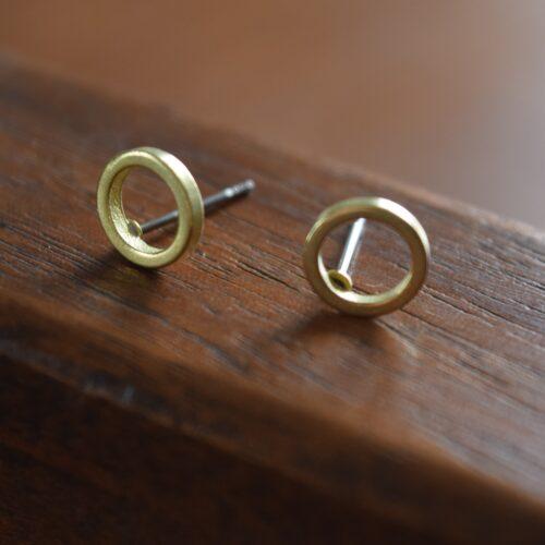 Brass Circle Stud Earrings