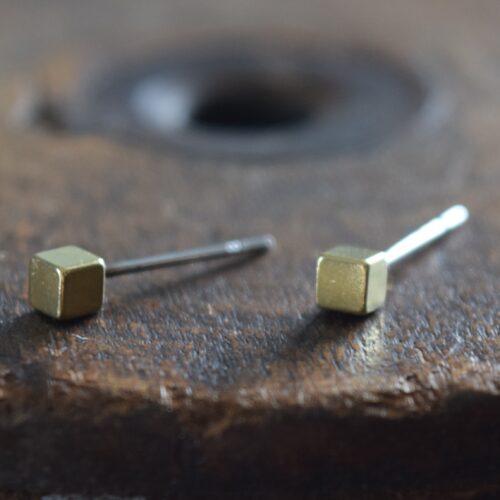 Brass Cube Stud Earrings