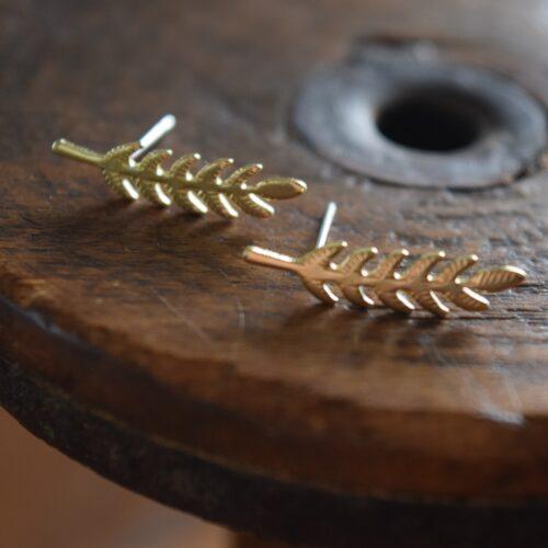 Brass Leaf Stud Earrings