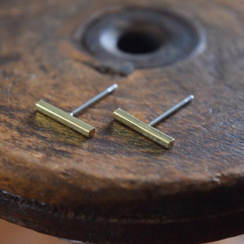 Brass Large Bar Stud Earrings