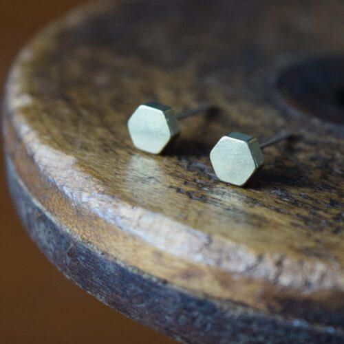 Brass Octagon Stud Earrings