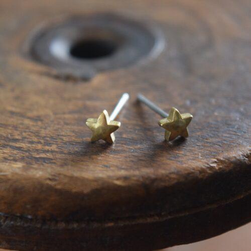 Brass Star Stud Earrings